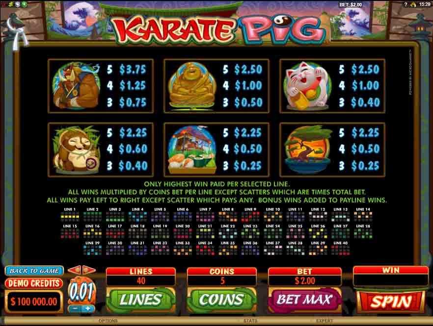 สัญลักษณ์ภายในเกมสล็อต Karate Pig จากค่ายเกม Microgaming ที่ตกแต่งได้สวยงามทำให้ดูน่าเล่น