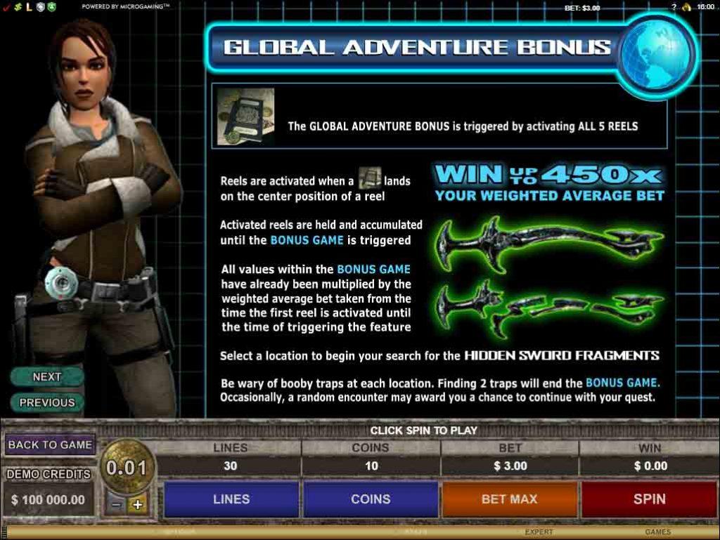 Bonus Credit เกมสล็อต Tomb Raider Secret of the Sword  จากค่ายดังเปิดให้บริการมานานหลายปี