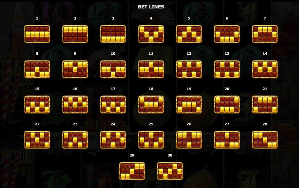 เส้นแนวทาง The Travels Of Marco เป็นแนวทางของเกมสล็อต ถ้าหากเพื่อนๆ ได้สัญลักษณ์ใดก็ตามแล้วจัดเรียงตามเส้น ที่กำหนดเอาไว้
