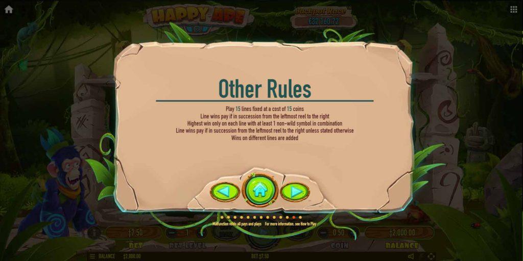 กฏต่างๆ ที่ควรทราบ เกมสล็อตออนไลน์ Happy Ape