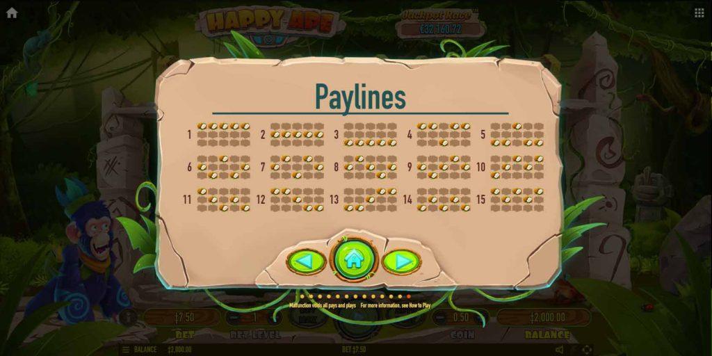 payline หรือเส้นแนวทาง ของ เกมสล็อตออนไลน์ Happy Ape